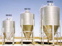 Hopper bottom grain bins and wet holding tanks